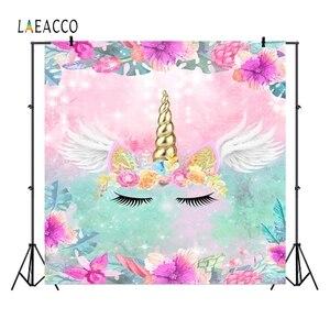 Image 2 - Laeacco çiçekler kanatları Unicorn bebek doğum günü Photophone fotoğrafçılık arka plan kişiselleştirilmiş fotoğraf fotoğraf stüdyosu için arka planında