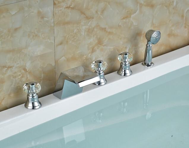 Chorme Faucet Vanity Sink Mixer Tap Crystal tHandles Deck Mounted Shape Faucet elegant chorme bathroom faucet deck mounted shape faucet three handles mixer tap