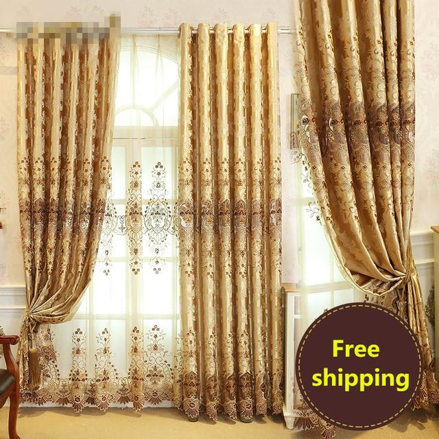 Custom Curtain European Luxury Living Room Curtains Soluble Embroidery  Gauze Gold Color Cloth Blackout Curtain Tulle