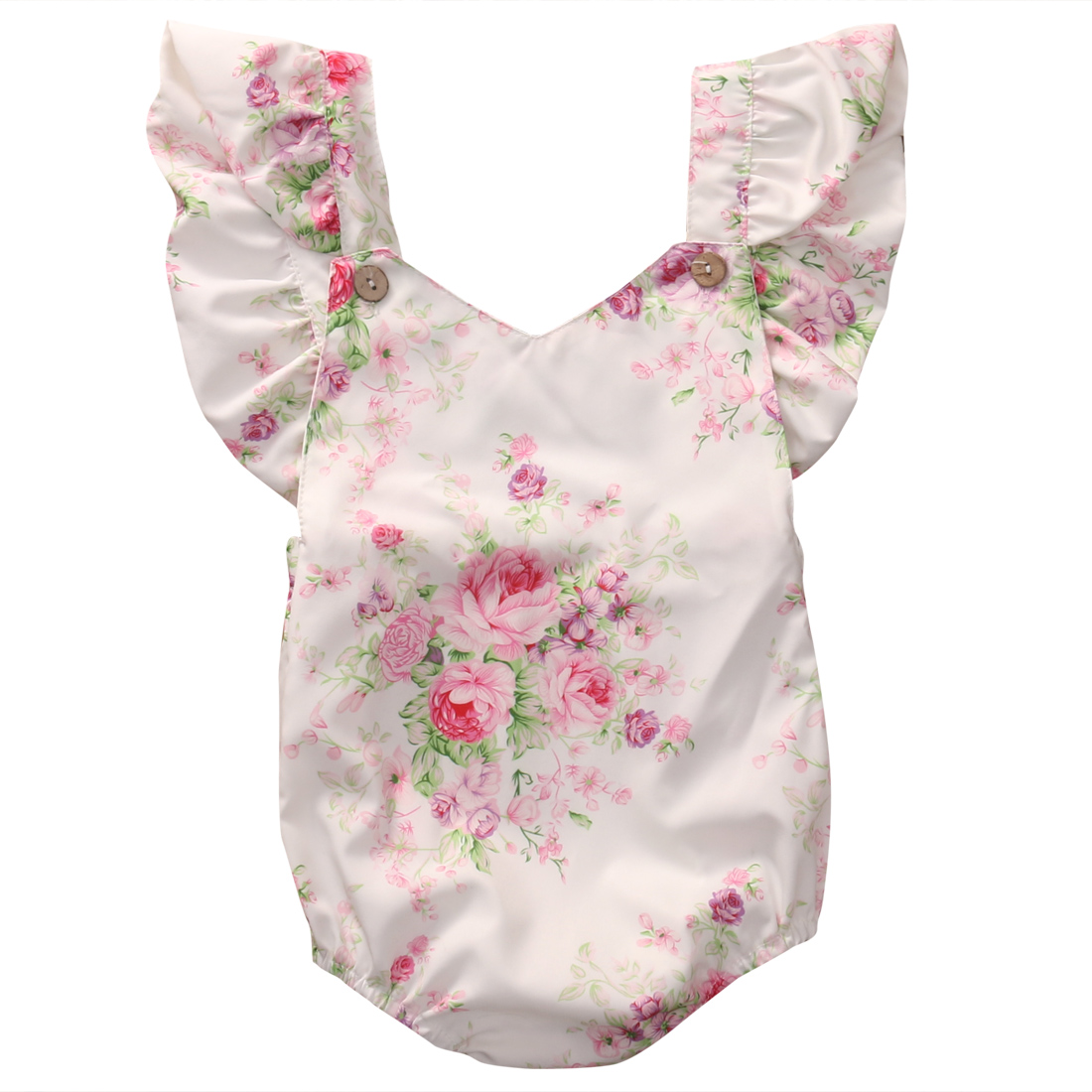 Cute Floral Baby Romper Newborn Infant Baby Girls Summer V-neck Ruffles Jumpsuit Toddler Kids Outfits Princess Sunsuit newborn infant baby clothes girls love floral strap romper jumpsuit outfit sunsuit summer cotton baby onesie girls clothing