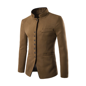 Image 4 - Nowy 2017 styl jesień zima mężczyźni garnitur casual mężczyźni pop stanąć kołnierz czesankowej tkaniny kieszeni przycisk dekoracji męska rozrywka płaszcz wierzchni