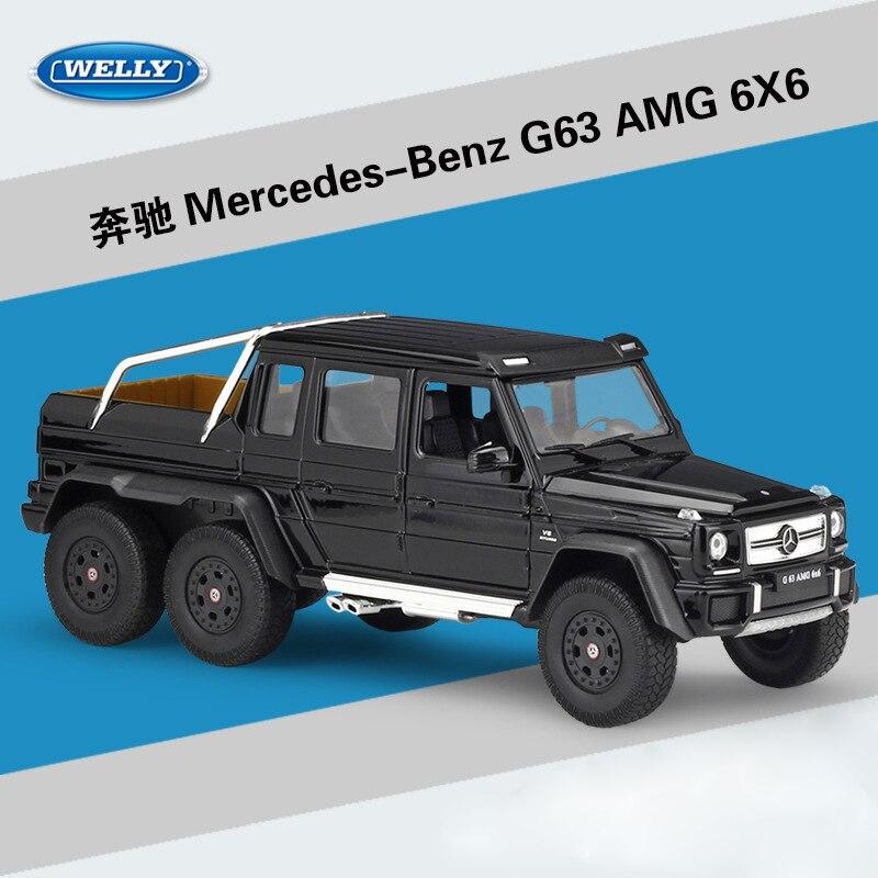 WELLY 1:24 alliage moulé sous pression modèle voiture jouets pour Benz G63 AMG 6X6 haute Simulation alliage véhicules pour enfants cadeaux avec boîte d'origine