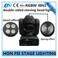 Best price RGBW 4in1 double-sided moving head light 10W beam light + 4X10W dying light DMX512 professional DJ equipment