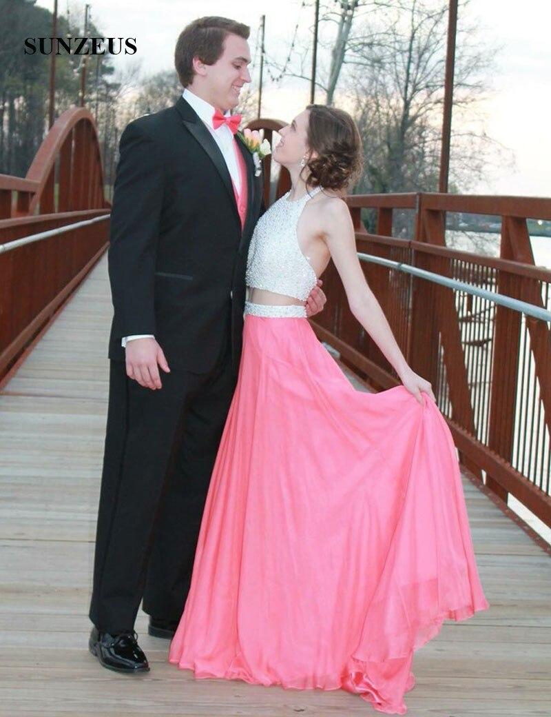 Color de la sandía Una Línea Cabestro Vestidos de Baile Glitter ...