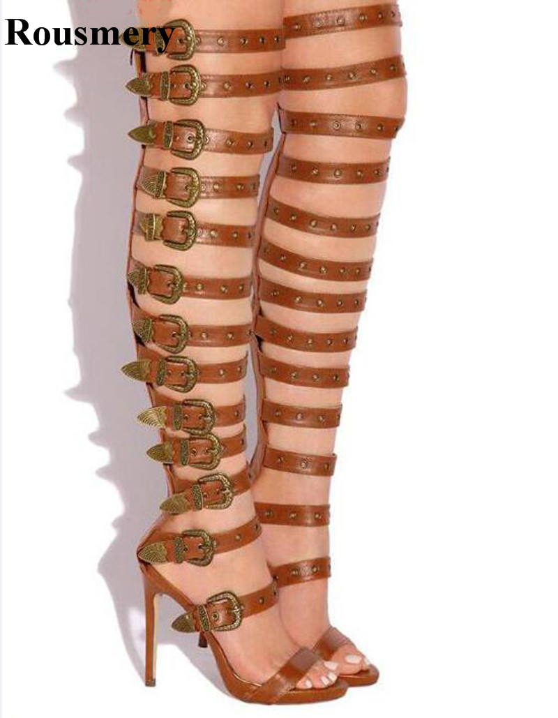 Sexy New Design Women Fashion Straps Combined Over Knee Gladiator Boots Spike Long High Heel Boots Evening Dress Shoes