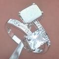 Diseño único Blanco Ópalo de Fuego Zirconia Para Las Mujeres Estampada 925 Joyería de plata Suena El Envío Libre Tamaño 6 7 8 9 WA012