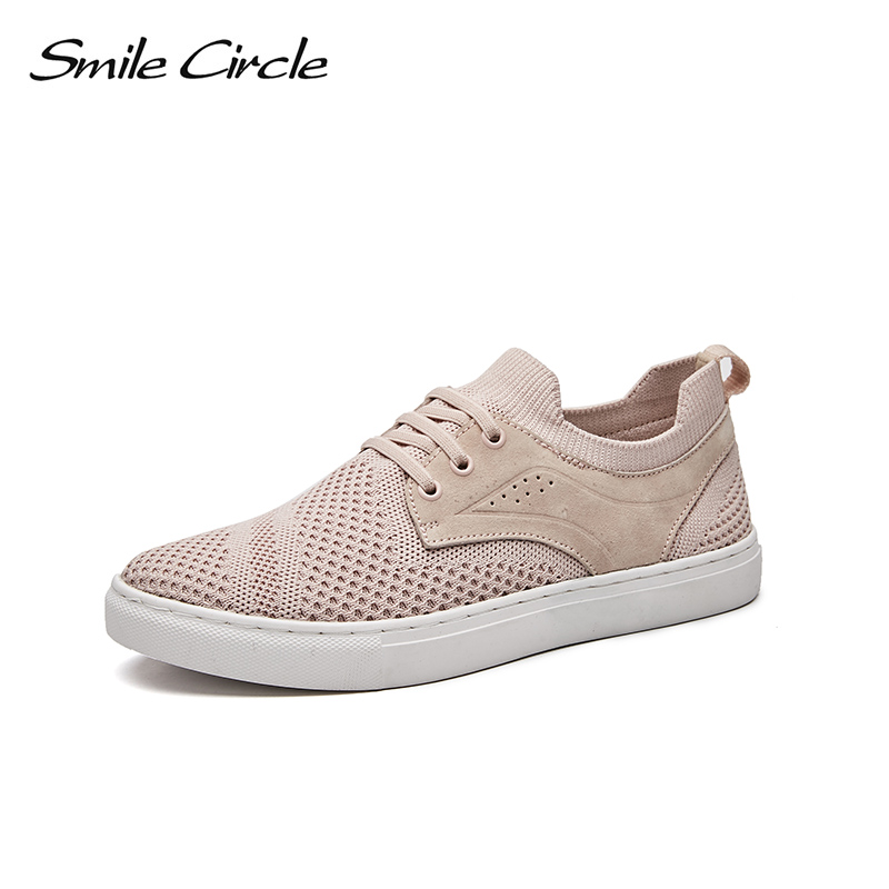 Smile Circle Spring Autumn  Sneakers Women Fashion Lace-up Flat Platform Shoes For Women Comfortable Casual Shoes C7W18B08 glowing sneakers usb charging shoes lights up colorful led kids luminous sneakers glowing sneakers black led shoes for boys