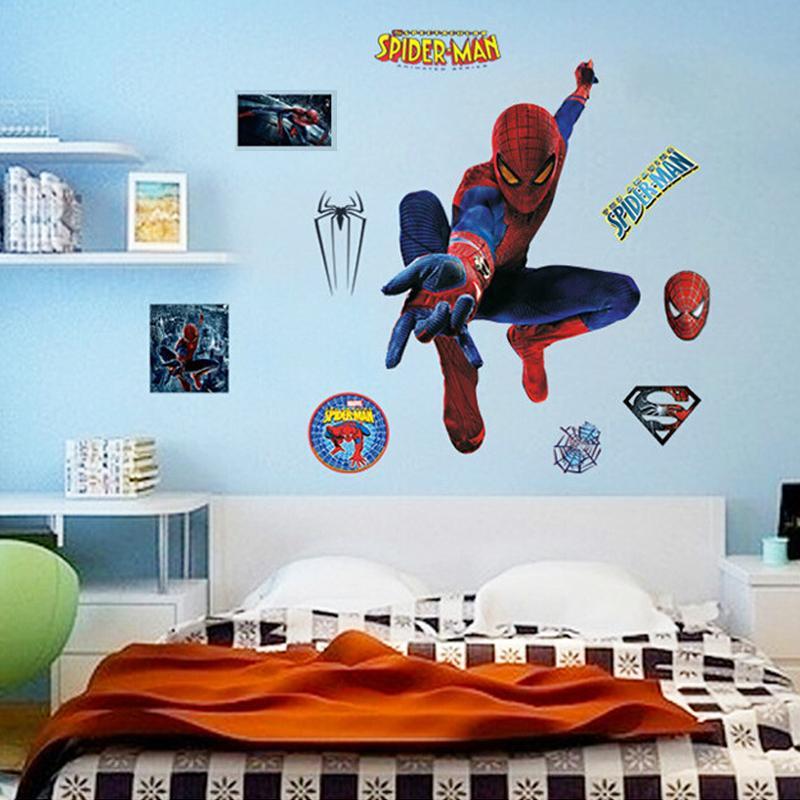 Pegatinas De Pared Luminosos Brillan En Oscuridad Foto Para Bebé Niño Habitación Papel De Spider Man