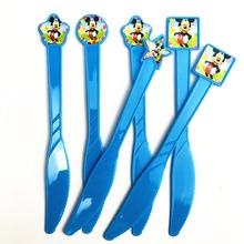 6pcs/set Mickey Mouse Party Supplies Kid Disposable Plastic Knife Children Birthday Favors Decoration