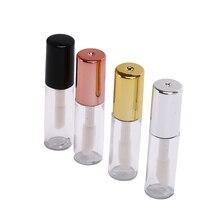 10x1,2 мл пустой прозрачный PE блеск для губ тюбики пластиковый бальзам для губ тюбик губная помада мини образец косметики контейнер с золотой крышкой