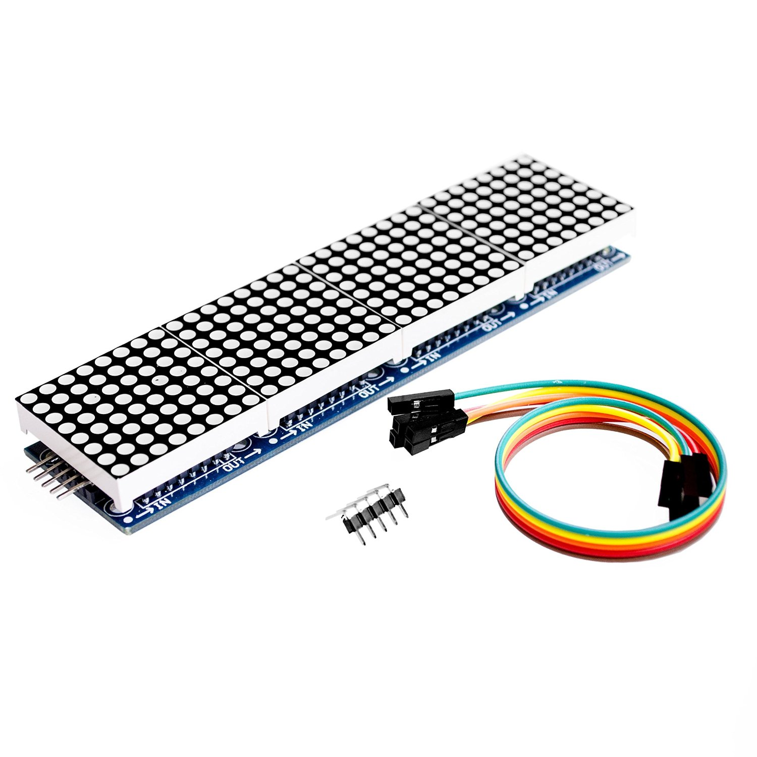 MAX7219 Dot Matrix Module For Arduino Microcontroller 4 In 1 Display with 5pin Line