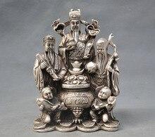 Lv TNUKK China Prata Bronze Fu Shou 3 Estrela Mammon Menino Estátuas de Peixe Presentes Decorativos Festivo Presentes Presentes Da Amizade.