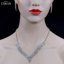 Фотография CHRAN Sparkling Rhinestone Simple Silver Color Bridal Wedding Jewelry Sets for Women Crystal Party Jewelry Necklace Earrings Set