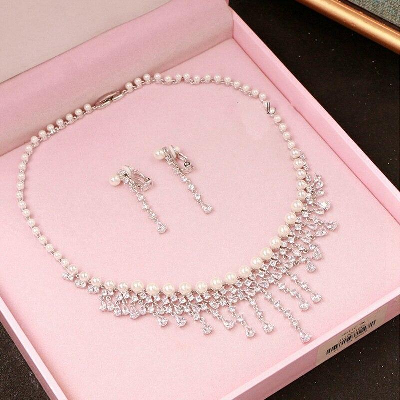 Cubique zircone ronde perle perceuse Noble mariée collier pendentif boucles d'oreilles bijoux strass accessoires de mariage pour les femmes - 4