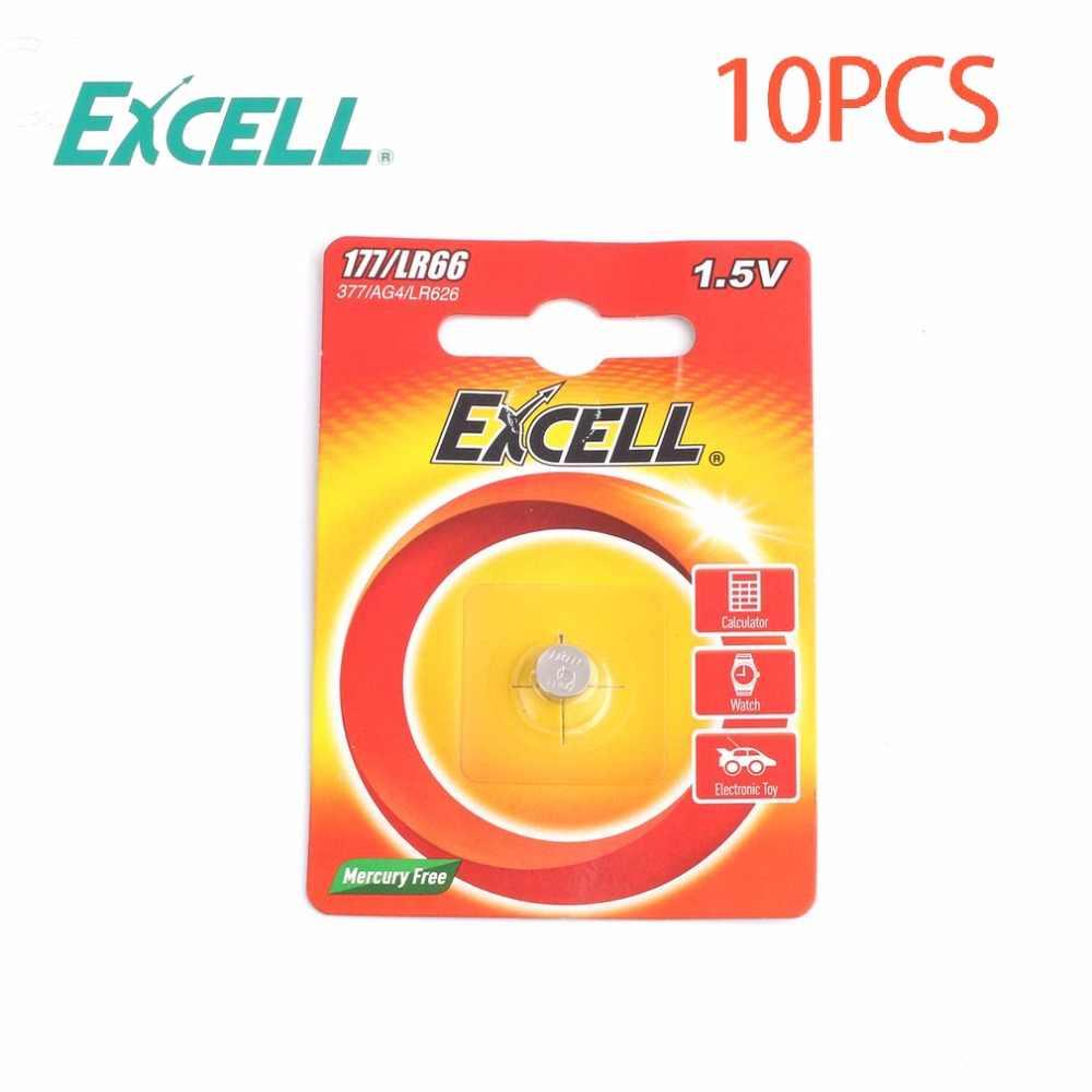 10 шт./лот Excel 1 5 V LR66/177/377/AG4 Кнопка ячейки Батарея аккумулятора кнопочного типа