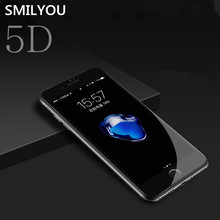 Smilyou 5D Curved Screen Protector for iPhone 8 7 6 6s Plus 8 Plus Edge Full Cover Film for iPhone X Tempered Glass Film New 3D