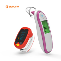 BOXYM Baby Pulse Oximeter blood oxygen Heart Rate Monitor Infrared Ear Thermometer with kids Pediatric oximetro Saturation Meter