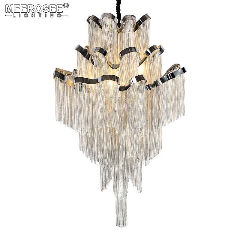 French Empire Chain Chandelier Light Fitting Aluminum Silver Chain Hanging Lamp Luminaire Project Chandeleir Chain Lustre