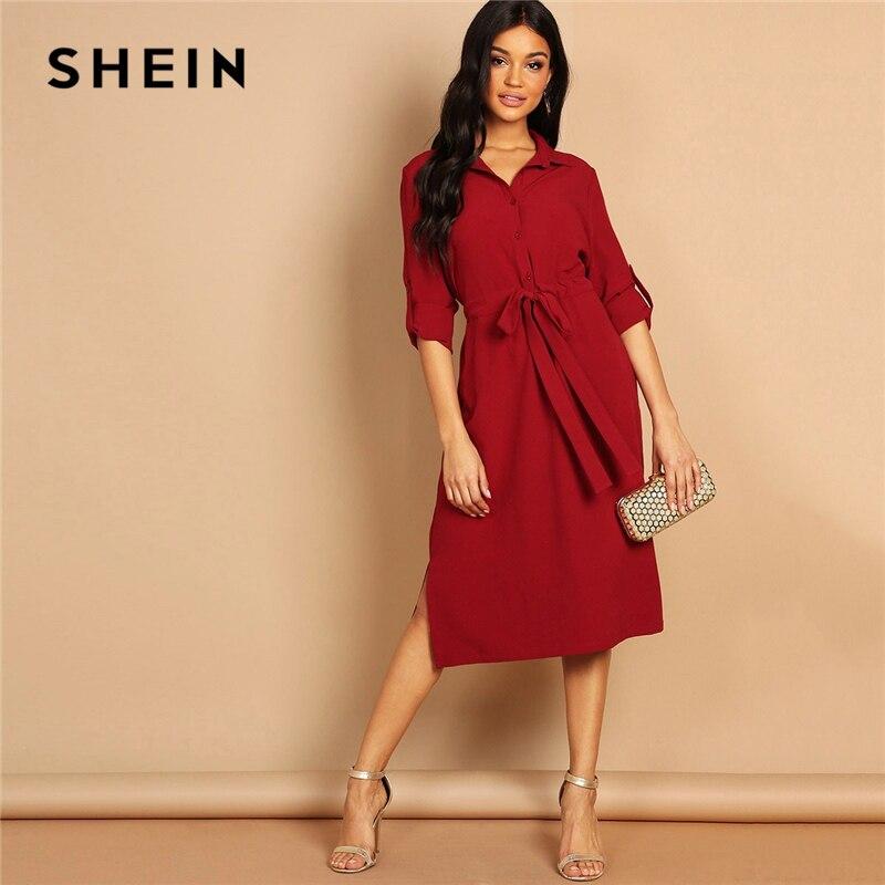 SHEIN Бургундия V шеи петля для отворота SleeveThree четверть Длина рукава Drawstring талия рубашка платье женское Highstreet осеннее платье
