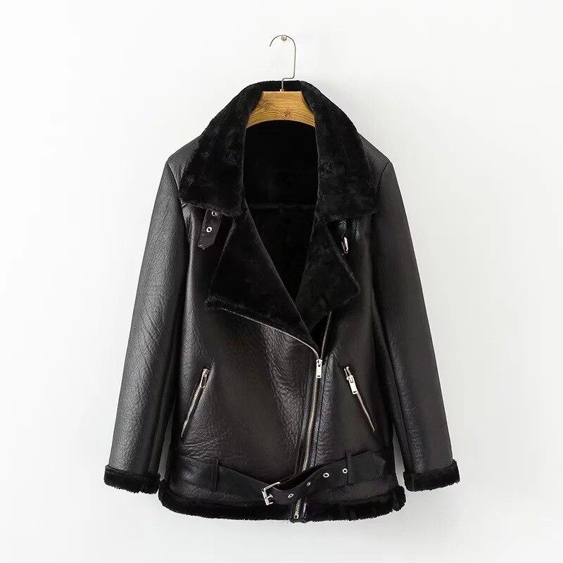 Warm Women's Winter Motorcycle Velvet Jacket Female Short Lapels Fur Thick Korean Version Plus Velvet Jacket Bomber Jacket