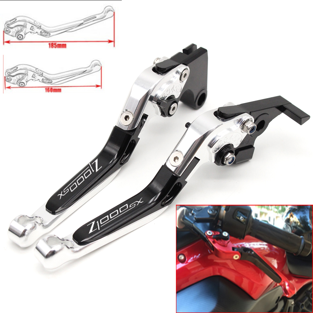Motorcycle CNC Adjustable Foldable brake Clutch Levers for Kawasaki Z1000SX 2017 with Logo(Z1000SX)