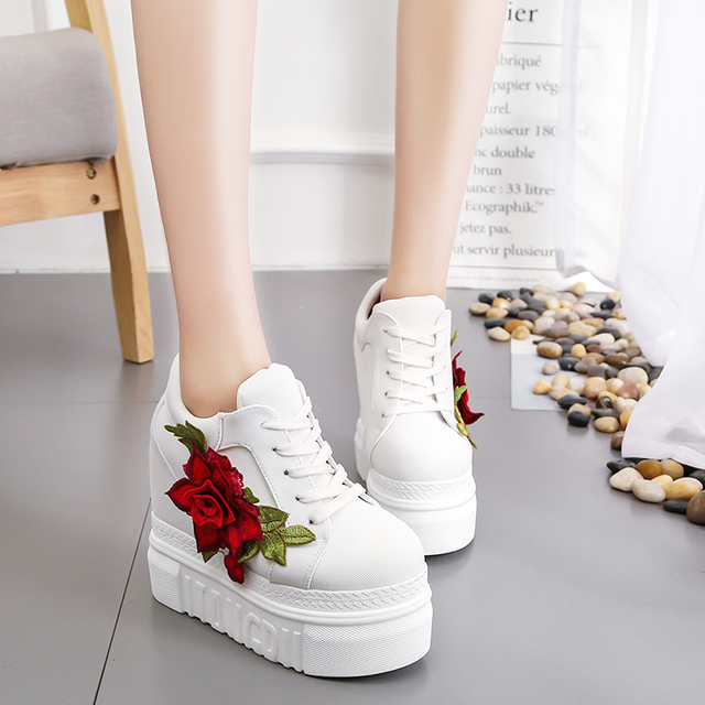 4babb550d 2019 New Women Vulcanize Shoes Vintage Lace Up High Heel Wedge Platform  Women Shoes Leisure Girls Woman Footwear Black White