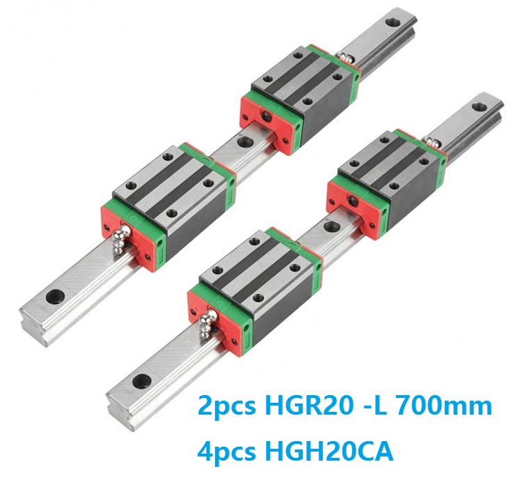 2pcs Linear Guide Rail HGR20 -L 700MM + 4pcs HGH20CA Linear Narrow Blocks CNC Parts China Made2pcs Linear Guide Rail HGR20 -L 700MM + 4pcs HGH20CA Linear Narrow Blocks CNC Parts China Made
