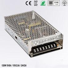 Triple alimentation de sortie 120 W 5 V 8A 15 V 2.5A 24 V 2a ac a dc alimentation T-120D haute qualité approuvé CE