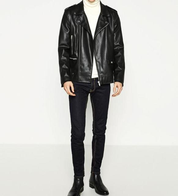 2017 WISHBOP MAN BLACK FAUX LEATHER BIKER JACKET Collar with press studs Cuffs with zip Shoulder with Epaulets Slim Coat