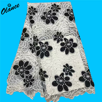 Black color velvet fabric flowers cord fabric with stones for dress 2W67 white color Nigeria Water soluble Chemical Lace Fabric
