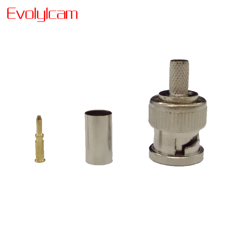 Evolylcam BNC Male Crimp Plug For RG59 Coaxial Cable RG59 BNC Connector Male 3-piece Crimp Connector Plugs CCTV System Conventer