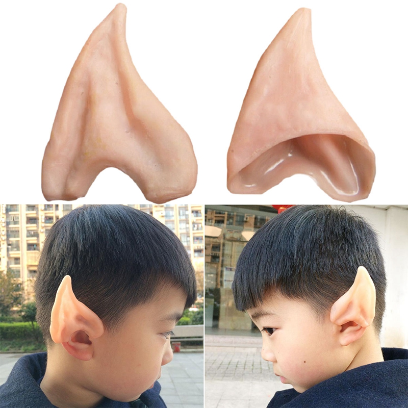 US $0 9 16% OFF|1 Pair PVC Fairy Pixie Fake Elf Ears Halloween Mask New  Party Mask Scary Halloween Decoration Soft Pointed Prosthetic Ears 6 2-in