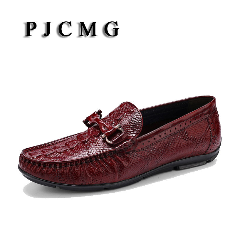 PJCMG Spring/Autumn Black/Brown Slip-On Woven Style Casual Men Genuine Leather Office Loafers Men Driving Dress Shoes