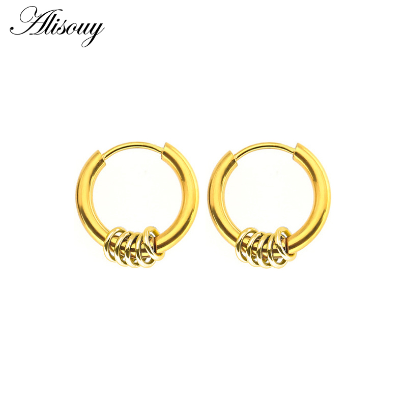 Alisouy 1 Pair Hoop Earrings Simple Summer Style Circle Hoop Earrings Women Man Round Popular Earring Jewelry Bijoux Jewelry