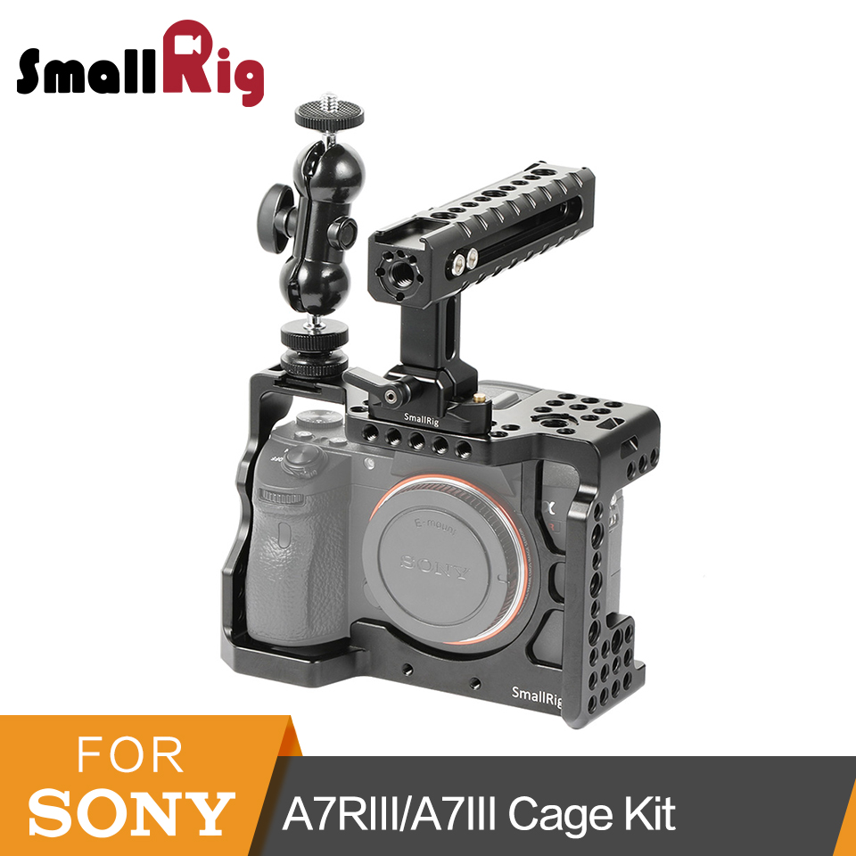 SmallRig a7iii a7riii Camera Cage Kit for Sony A7RIII/A7III Cage With Nato Handle + Double Ball Heads Extension Arm Kit 2103