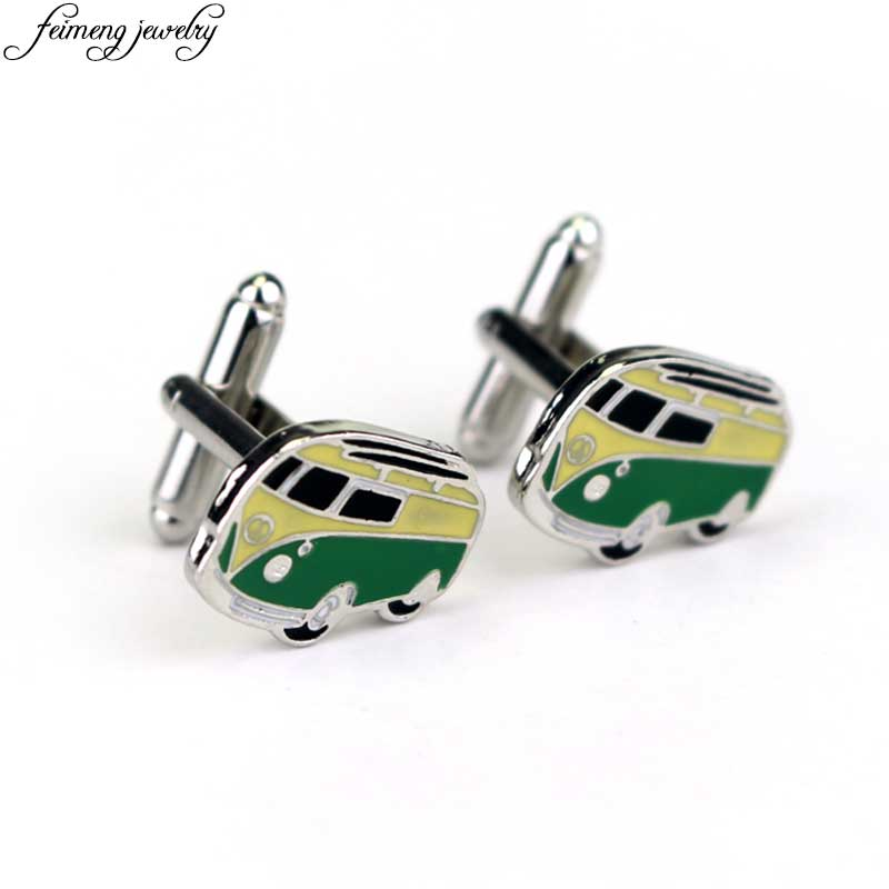 Classic Cars Cufflinks Novelty Design Green Bus Shape Enamel Shirt Cuff links Fashion Jewelry Accessories For Men And Women