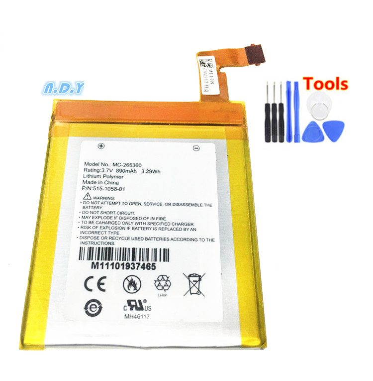 High quality polymer lithium battery for amazon <font><b>kindle</b></font> <font><b>4</b></font> MC-265360 <font><b>D01100</b></font> S2011-001-S DR-A015 battery + Free Tools image
