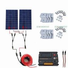 High Efficiency 2pcs 100W Solar Panel 20A CMG Controller for Home Roof Car Solar Generators