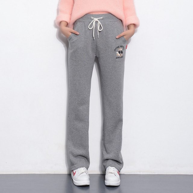 Winter Warm Loose Straight Thicken Fleece Harem Pants Women Trousers Solid Casual Cartoon Bear Embroidery Full Length Pants T085 2