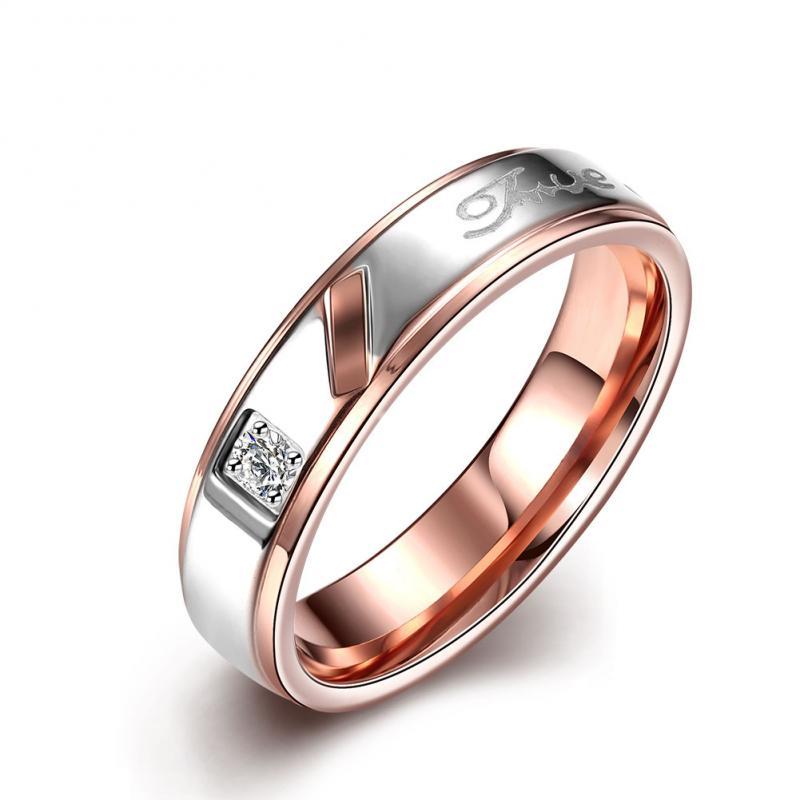 Plated Ring Jewelry New Arrival Forever Love CZ Finger Ring Women&Men Finger Rings Stainless Steel Two Tone Ring
