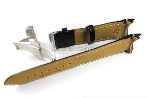 Image 4 - 23mm (klamra 20mm) T035617A wysokiej jakości srebrna klamra motylkowa + T035439 czarne prawdziwa skóry zakrzywiony koniec paski Watchband człowiek