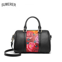 купить SUWERER 2019 New Women Genuine Leather bags luxury handbags women bag designer Cowhide Embossed bag women leatherBoston bag по цене 8814.21 рублей