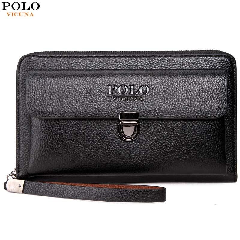 VICUNA POLO Large Capactity Antitheft Buckle Leather Men Clutch Wallet Multifunction Clutch Handbag Business Men Clutch Bag clutch emilio masi clutch