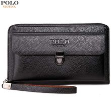 (Ship from US) VICUNA POLO Large Capactity Antitheft Buckle Leather Men  Clutch Wallet Multifunction Clutch Handbag Business Men Clutch Bag ee8cfa091ee5d