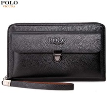 VICUNA POLO Large Capactity Antitheft Buckle Leather Men Clutch Wallet Multifunc