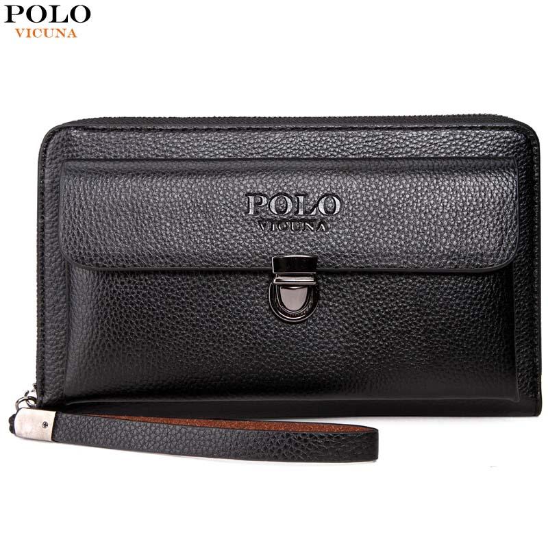 VICUNA POLO Large Capactity Antitheft Buckle Leather Men Clutch Wallet Multifunction Clutch Handbag Business Men Clutch Bag