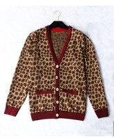 Новое поступление 2018 Осень кардиганы с леопардовым принтом ПАЛЬТО МОДНЫЙ Подиум вязаный свитер пальто с v образным вырезом платье с трикота