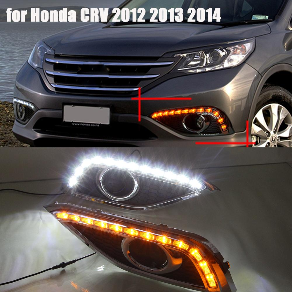 1pair daytime running light white drl yellow turn signal for honda crv cr v cr