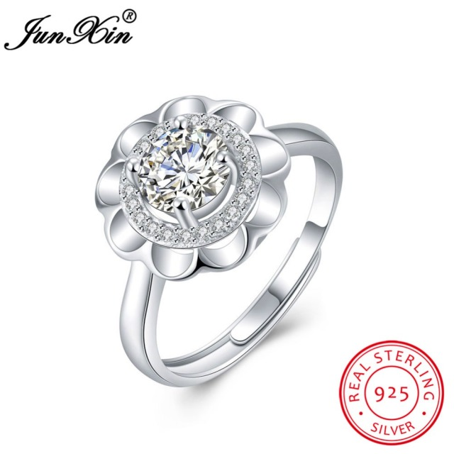 JUNXIN Women Fashion 100% 925 Sterling Silver Ring Sunflower Design Adjustable Ring Promise Engagement Rings For Couples