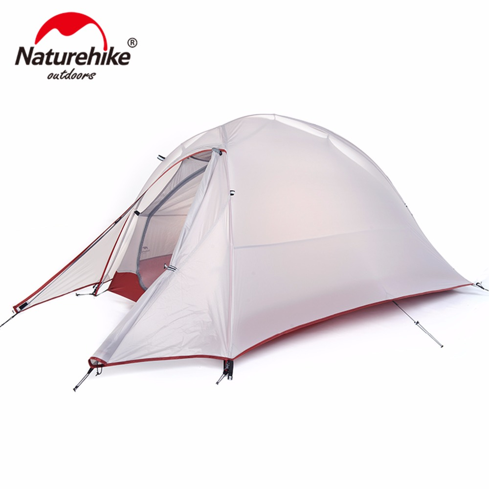 Naturehike Alumnum Rod Ultralight Hiking 1 Person With Mat Travel Cycling Park Trekking Fishing Beach Outdoor Camping Tent high quality outdoor 2 person camping tent double layer aluminum rod ultralight tent with snow skirt oneroad windsnow 2 plus
